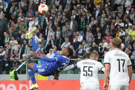 Artur Jedrzejczyk (R) of Legia and Patson Daka (L) of Leicester City in action during the UEFA Europa League group C soccer match between Legia Warsaw and Leicester City in Warsaw, Poland, 30 September 2021.