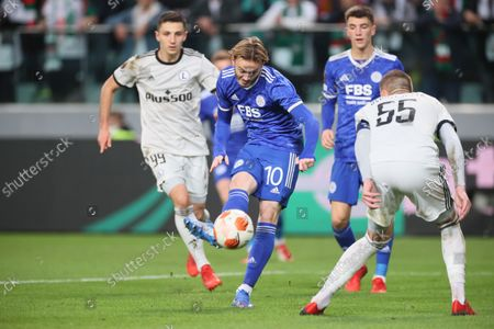Artur Jedrzejczyk (R) of Legia and James Maddison (2L) of Leicester City in action during the UEFA Europa League group C soccer match between Legia Warsaw and Leicester City in Warsaw, Poland, 30 September 2021.