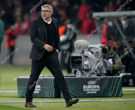 Union's head coach Urs Fischer attends a group E Europa Conference League soccer match between 1. FC Union Berlin and Maccabi Haifa FC in Berlin, Germany