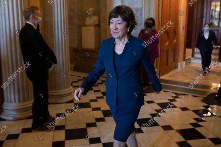 Republican Senator from Maine Susan Collins walks off the Senate floor following passage of a stopgap funding bill to prevent a government shutdown in the US Capitol in Washington, DC, USA, 30 September 2021.