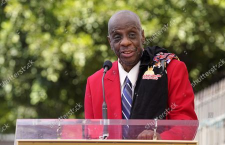 Stock Photo of Actor Jimmie Walker speaks during a ceremony to award R&B group The Chi-Lites a star on the Hollywood Walk of Fame, in Los Angeles