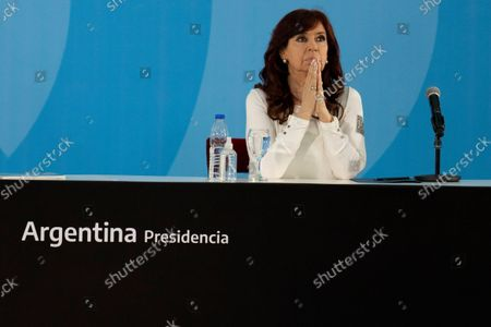 Argentina's Vice President Cristina Fernandez attends a ceremony to announce new agro-economic measures, at the government house in Buenos Aires, Argentina