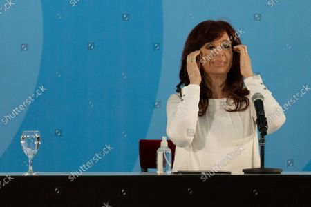 Argentina's Vice President Cristina Fernandez attends a ceremony to announce new agro-economic measures at the government house in Buenos Aires, Argentina