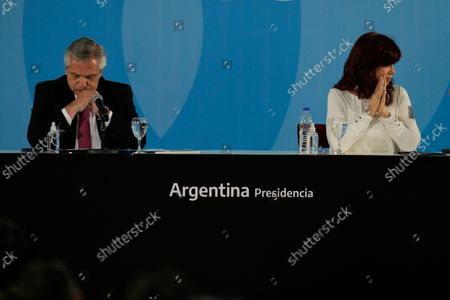 Argentina's President Alberto Fernandez, left, and Vice President Cristina Fernandez attend a ceremony to announce new agro-economic measures, at the government house in Buenos Aires, Argentina
