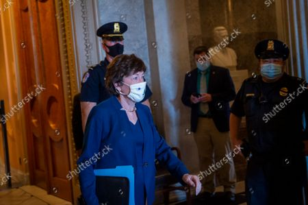 United States Senator Susan Collins (Republican of Maine) departs the Senate chamber during a vote at the US Capitol in Washington, DC, Thursday, September 30, 2021.
