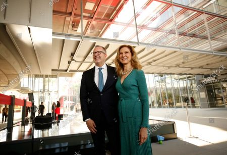 Bill Kramer, Director and President, Academy Museum and Dawn Hudson, CEO, Academy of Motion Picture Arts and Sciences gather in the Academy Museum's Walt Disney Company Piazza for the ceremony marking opening day for the Academy Museum of Motion Pictures. The ceremony included a ribbon cutting and civic dedication before opening its doors to first time visitors to the museum - the largest in the nation dedicated to movies and moviemaking. Academy Museum on Thursday, Sept. 30, 2021 in Los Angeles, CA. (Al Seib / Los Angeles Times).