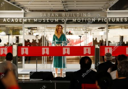 Dawn Hudson, CEO, Academy of Motion Picture Arts and Sciences addresses guests gathered in the Academy Museum's Walt Disney Company Piazza for the ceremony marking opening day for the Academy Museum of Motion Pictures. The ceremony included a ribbon cutting and civic dedication before opening its doors to first time visitors to the museum - the largest in the nation dedicated to movies and moviemaking. Academy Museum on Thursday, Sept. 30, 2021 in Los Angeles, CA. (Al Seib / Los Angeles Times).