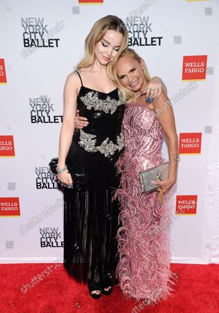 Actors Dove Cameron, left, and Kristin Chenoweth attend the New York City Ballet Fall Fashion Gala at the David H. Koch Theater at Lincoln Center, in New York