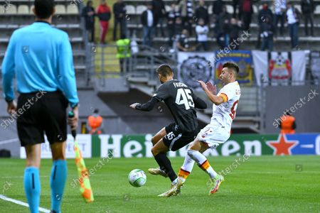 Players of FC Zorya Luhansk Denys Favorov (L) and AS Roma Italy Stephan El Shaarawy fight for the ball during the the UEFA Conference League round of 16 group stage game which ended with the defeat of the hosts 0:3, Zaporizhzhia, southeastern Ukraine