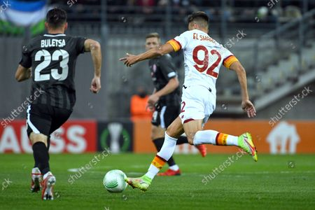 Players of FC Zorya Luhansk Serhii Buletsa and AS Roma Italy Stephan El Shaarawy fight for the ball during the UEFA Conference League round of 16 group stage game which ended with the defeat of the hosts 0:3, Zaporizhzhia, southeastern Ukraine