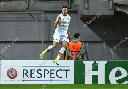 Midfielder of AS Roma Italy Stephan El Shaarawy celebrates a goal during the UEFA Conference League round of 16 group stage game against FC Zorya Luhansk which ended with the defeat of the hosts 0:3, Zaporizhzhia, southeastern Ukraine