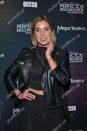 Tv host Andrea Escalona  poses for photos during the red carpet of 'Perfectos Desconocidos'  theater play premiere at New Lebanese Theater on September 30, 2021 in Mexico City, Mexico. (Photo by Carlos Tischler/ Eyepix Group)