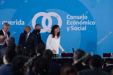 Argentina's Vice President Cristina Fernandez de Kirchner attends a ceremony to announce new agro-economic measures inside the museum of Casa Rosada presidential palace, in Buenos Aires, Argentina September 30, 2021.