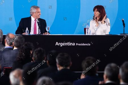Stock Picture of Argentina's President Alberto Fernandez and Vice President Cristina Fernandez de Kirchner attend a ceremony to announce new agro-economic measures inside the museum of Casa Rosada presidential palace, in Buenos Aires, Argentina September 30, 2021.