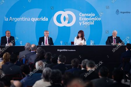 Stock Image of Argentina's President Alberto Fernandez and Vice President Cristina Fernandez de Kirchner attend a ceremony to announce new agro-economic measures inside the museum of Casa Rosada presidential palace, in Buenos Aires, Argentina September 30, 2021.