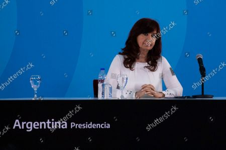 Stock Photo of Argentina's Vice President Cristina Fernandez de Kirchner attends a ceremony to announce new agro-economic measures inside the museum of Casa Rosada presidential palace, in Buenos Aires, Argentina September 30, 2021.
