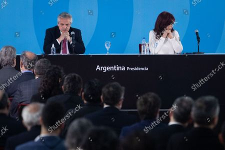 Argentina's President Alberto Fernandez and Vice President Cristina Fernandez de Kirchner attend a ceremony to announce new agro-economic measures inside the museum of Casa Rosada presidential palace, in Buenos Aires, Argentina September 30, 2021.