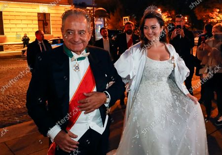 bride Victoria Romanovna Bettarini arrives accompanied by her father, Roberto Bettarini, for the diner after wedding ceremony with Grand Duke of Russia George Mikhailovich Romanov at the Ethnographic Museum in St. Petersburg, Russia, 01 October 2021. George Mikhailovich Romanov is a descendant of the Romanov family through his mother, recognized by a part of the monarchists (Cyrilists) as the heir to the supremacy in the Russian Imperial House.
