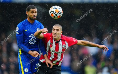 Ruben Loftus-Cheek of Chelsea heads under pressure from Oriol Romeu of Southampton