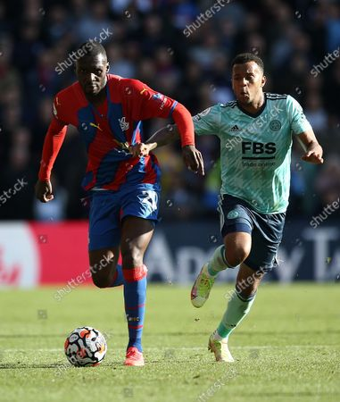 Stock Image of Christian Benteke of Crystal Palace  battles with Ryan Bertrand of Leicester City