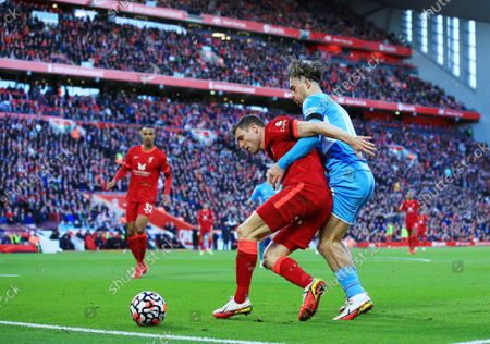 James Milner of Liverpool and Jack Grealish of Manchester City