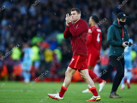 James Milner of Liverpool thanks the fans at the end of the game