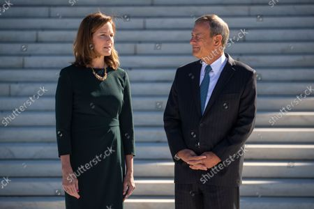 Editorial picture of Supreme Court investiture ceremony for Associate Justice Amy Coney BarrettÊ, Washington, USA - 01 Oct 2021