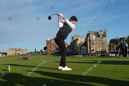 Stock Picture of Danny Willett of England tees off on the eighteenth hole during the final round of the Alfred Dunhill Links Championship on the Old Course, St Andrews; The Old Course, St Andrews Links, Fife, Scotland; European Tour, Alfred Dunhill Links Championship, Fourth round.