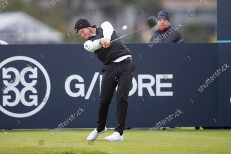 Stock Image of Danny Willett of England tees off on the fourth hole during the final round of the Alfred Dunhill Links Championship on the Old Course, St Andrews; The Old Course, St Andrews Links, Fife, Scotland; European Tour, Alfred Dunhill Links Championship, Fourth round.