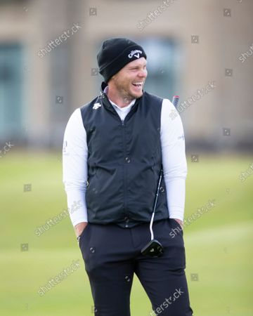 Danny Willett of England laughs during the final round of the Alfred Dunhill Links Championship on the Old Course, St Andrews; The Old Course, St Andrews Links, Fife, Scotland; European Tour, Alfred Dunhill Links Championship, Fourth round.