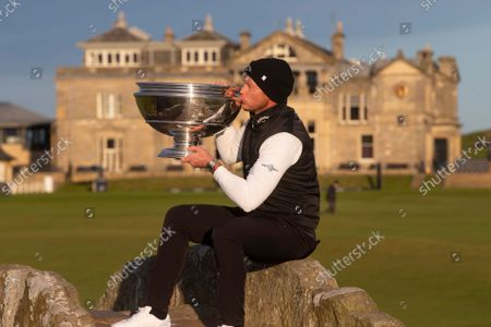 Danny Willett of England kisses the Alfred Dunhill Links Championship trophy after his win on the Old Course, St Andrews; The Old Course, St Andrews Links, Fife, Scotland; European Tour, Alfred Dunhill Links Championship, Fourth round.