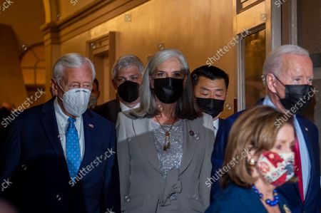 Editorial photo of United States President Joe Biden arrives for talks on the infrastructure bill at the US Capitol, Washington, District of Columbia, USA - 01 Oct 2021