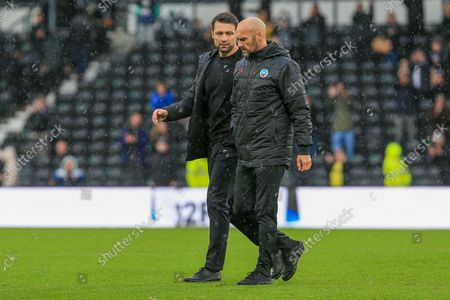 Swansea City Manager Russell Martin and his assistant Luke Williams during the EFL Sky Bet Championship match between Derby County and Swansea City at the Pride Park, Derby