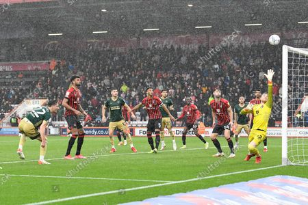 Ben Davies (22) of Sheffield United heads a shot at goal during the EFL Sky Bet Championship match between Bournemouth and Sheffield United at the Vitality Stadium, Bournemouth