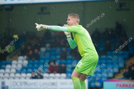 Wigan Athletic's goalkeeper Ben Amos (12) shouts instructions to his players during the EFL Sky Bet League 1 match between Gillingham and Wigan Athletic at the MEMS Priestfield Stadium, Gillingham
