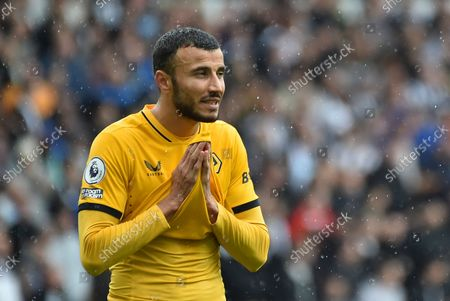 Stock Picture of Wolverhampton Wanderers' Romain Saiss during the English Premier League soccer match between Wolverhampton Wanderers and Newcastle United at Molineux stadium in Wolverhampton, England