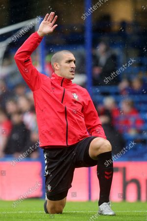 Oriol Romeu of Southampton warms up ahead of kick off during Chelsea vs Southampton, Premier League Football at Stamford Bridge on 2nd October 2021