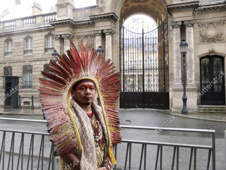 Ninawa Inu Huni kui stands in front of the Elysee Palace after he delivered a letter to the office of French President Emmanuel Macron, in Paris, . A Brazilian Indigenous leader is appealing to France's president to use his sway to fight deforestation of the Amazon