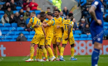 Junior Hoilett of Reading FC celebrates with Danny Drinkwater, George Puscas, Josh Laurent after he scores the opening goal to put Reading 1-0 up