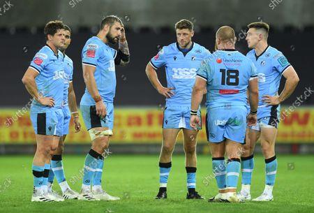 Lloyd Williams, Josh Turnbull, Rhys Priestland, Dmitri Arhip and Josh Adams of Cardiff at the end of the game.