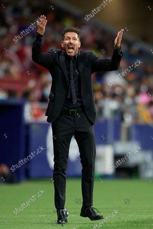Diego Simeone head coach of Atletico Madrid reacts during the La Liga Santander match between Club Atletico de Madrid and FC Barcelona at Estadio Wanda Metropolitano on October 2, 2021 in Madrid, Spain.