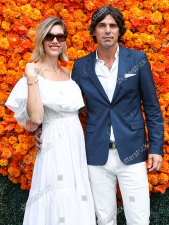 PACIFIC PALISADES, LOS ANGELES, CALIFORNIA, USA - OCTOBER 02: Photographer Delfina Blaquier and husband/Argentine polo player Nacho Figueras arrive at the Veuve Clicquot Polo Classic Los Angeles 2021 held at the Will Rogers State Historic Park on October 2, 2021 in Pacific Palisades, Los Angeles, California, United States.