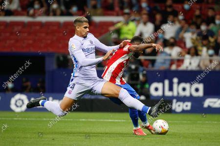 Thomas Lemar of Atletico de Madrid scores a goal during the La Liga match between Atletico de Madrid and FC Barcelona at Wanda Metropolitano Stadium in Madrid, Spain.