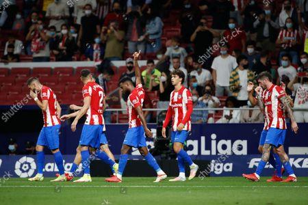 Thomas Lemar of Atletico de Madrid celebrates a goal during the La Liga match between Atletico de Madrid and FC Barcelona at Wanda Metropolitano Stadium in Madrid, Spain.