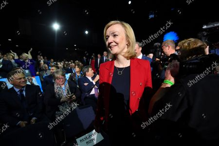 Liz Truss, Foreign Secretary, arrives for the leader's speech at the Tory party conference