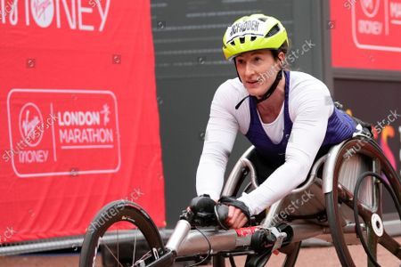 United States' Tatyana Mcfadden takes third place in the Women's wheelchair race in the London Marathon in central London