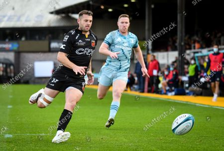 Stock Picture of Dragons vs Leinster . Dragons' Josh Lewis chases a loose ball