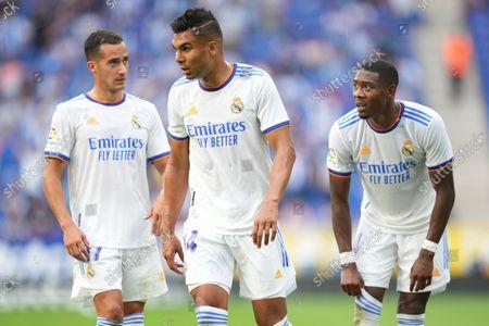 Carlos Henrique Casemiro, Lucas Vazquez and David Alaba of Real Madrid