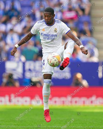 David Alaba of Real Madrid controls the ball