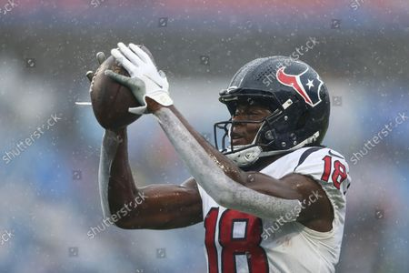 Houston Texans wide receiver Chris Conley (18) makes a catch before a NFL football game against the Buffalo Bills in Orchard Park, N.Y